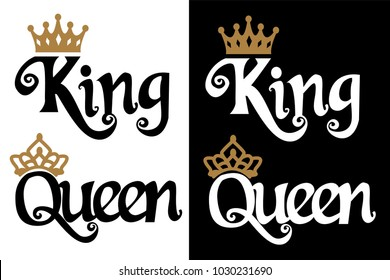 1e93c384d9 King and Queen - couple design. Black text and gold crown isolated on white  background