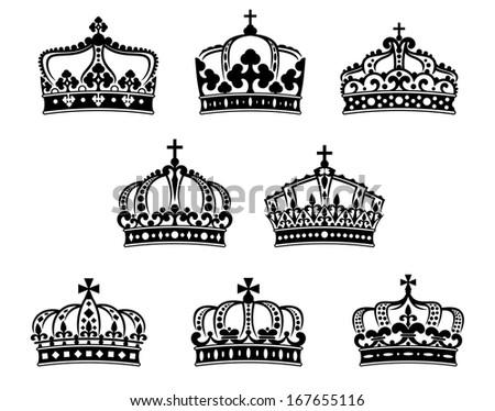 King Queen Crowns Set Heraldry Luxury Stock Vector Royalty Free