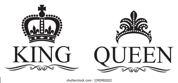 king and queen crowns vector design