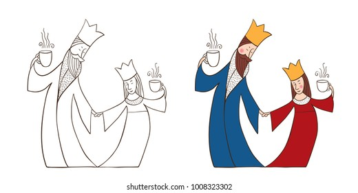 The king and Queen dance. The royals are holding cups of tea or coffee. Vector illustration of hand-drawn.
