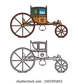 King, queen retro carriage or prince, princess vintage chariot. Wedding buggy or antique waggon, royal victorian horse transport or vintage, dormeuse, retro stagecoach or classic cab or cart icon