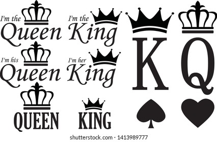 King and Queen signs set, vector illustration