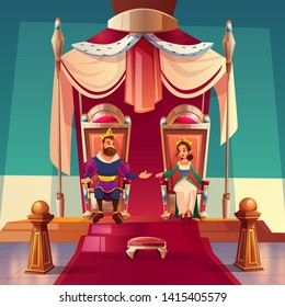 King and queen sitting on thrones in palace. Medieval royal family, monarchy husband and wife in gold crowns and luxury dressing, fairytale kingdom and history characters. Cartoon vector illustration