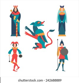 King, queen, soldier, jester and the dragon. vector illustration