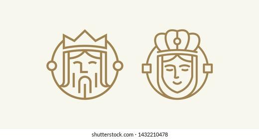 king and queen vector icon logo design