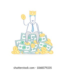 King, rich Boss, Chef, Master, Leader, Authority, Success. Cute fun cartoon character with crown fantasizes and sitting on the big pile of money and gold. Flat outline vector illustration.