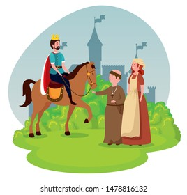 king riding horse with monk and woman mediaval peasant