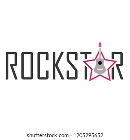 King of Rock- Rockstar with a guitar and typography