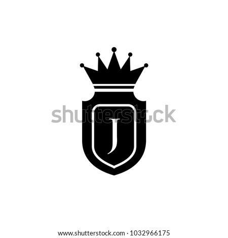 King Royalcrown J Letter Logo Black Stock Vector Royalty Free