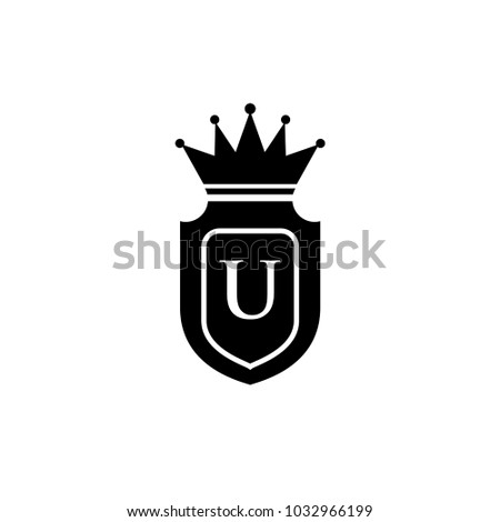 King Royalcrown U Letter Logo Black Stock Vector Royalty Free