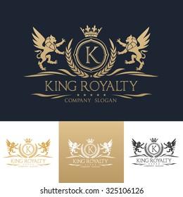 King Royalty K Letter crest Gold Logo template