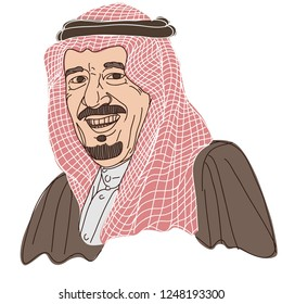 King Salman. Editorial Cartoon Portrait Illustration. December 4, 2018