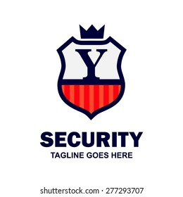 King Security Logo. Abstract secure shield logo design - various geometric shapes - Security visual identity, Security Logo template Monogram design elements Business sign identity vector illustration