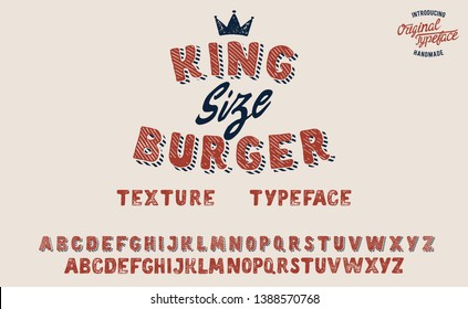 King Size Burger. Vintage 3D serif font. Hand made font and logotype. Vintage style. Old whiskey. Clothing collection. Retro print. Hipster style.