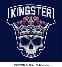 King skull crowned mascot logo