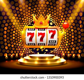 King slots 777 banner casino on the golden background. Vector illustration