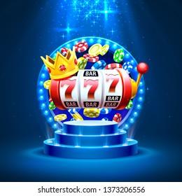 King slots 777 banner casino on the blue background. Vector illustration