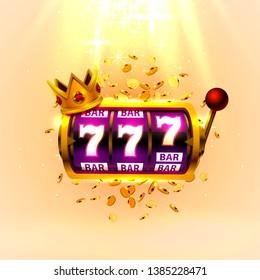 King slots 777 banner casino on the golden background. Vector illustration