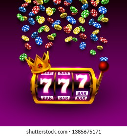 King slots 777 banner casino on the purple background. Vector illustration