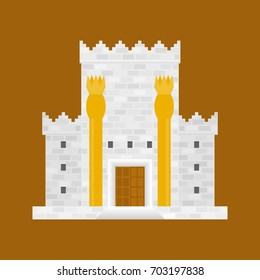King Solomon's temple with bronze pillars named Boaz and Jachin
