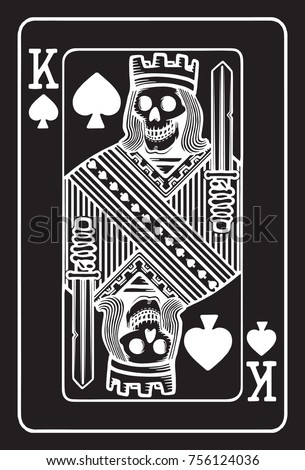 King Spades Skull On Black Background Stock Vector Royalty Free