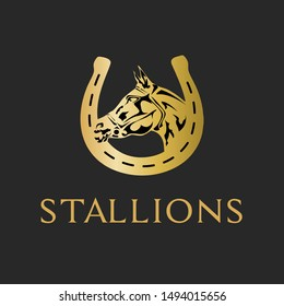 King Stallions Golden Horse Logo with West Horse Shoe Logo with Sign and Icon.