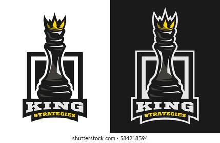 King strategies, Chess figure, emblem, logo.