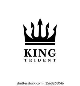 king Trident  Neptune God Poseidon Triton King Spear logo design
