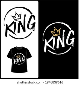 king t-shirt typographic vector design or king concept for logo and poster design. T-shirt Design template Black and Gold color.