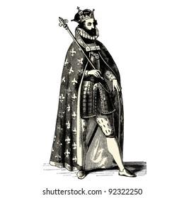 "King - vintage engraved illustration - ""Costumes anciens et modernes "" by Cesare Veccello ed.Firmin-Didot  in 1859 - Paris"