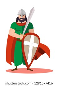 King warrior with sword and shield