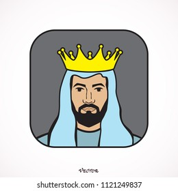 king wearing crown and mantle, cartoon vector illustration isolated in white background.