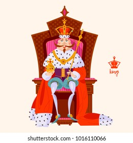 King wearing a crown and royal mantle, sitting on a throne. Vector illustration.