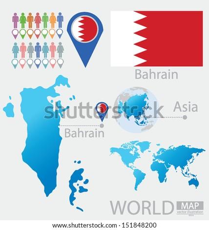 Kingdom Bahrain Flag Asia World Map Stock Vector (Royalty Free ...
