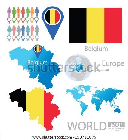 Kingdom Belgium Flag World Map Vector Stock Vector (Royalty Free ...