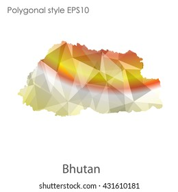 Kingdom of Bhutan map in geometric polygonal style.Abstract gems triangle,modern design background.