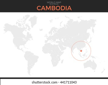 Grayscale world map images stock photos vectors shutterstock kingdom of cambodia location modern detailed vector map all world countries without names vector gumiabroncs Image collections