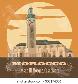 Kingdom of Morocco landmarks. Hassan III Mosque in Casablanca. Retro styled image. Vector illustration