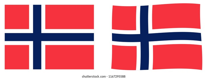 Kingdom of Norway flag. Simple and slightly waving version.