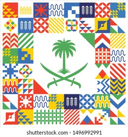 Kingdom of Saudi Arabia 89 National Day. September 23. 2019. Mettle to the top (translated). Eps Vector.