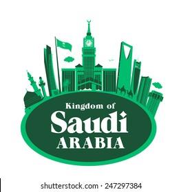 Kingdom of Saudi Arabia Famous Buildings. Editable Vector Illustration