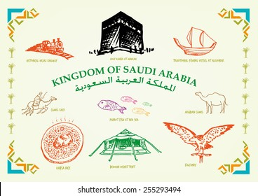 Kingdom of Saudi Arabia Line Art Cultural Icons and Transportations. Country text in Arabic and English versions.  Handdrawn doodle Illustration in vector and jpg with modern islamic frame design.