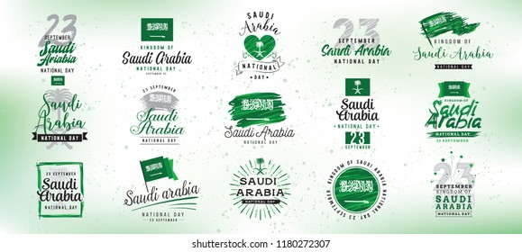 Kingdom of Saudi Arabia national day. September 23. Happy independence day. Typography vector design.