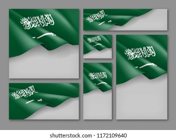Kingdom of Saudi Arabia patriotic festive banners set. Realistic waving arabian flag on grey background. Independence and freedom vector layouts. Saudi Arabia national day concept with space for text