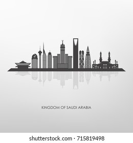 Kingdom of Saudi Arabia  skyline silhouette ,Riyadh Mecca and Jeddah buildings .