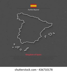 Kingdom of Spain isolated map and official flag icons. vector Spanish political map thin line icon over grunge background. EU geographic banner template. travel and business concept maps
