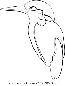 kingfisher birds line vector illustration. Concept for print, logo, icon, textile.