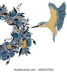 Kingfisher flying to floral wreath. Vector illustration of yellow bird with blue wings  and wreath  with blue and yellow flowers on white background