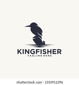 Kingfisher logo design vector with a silhouette and elegant style