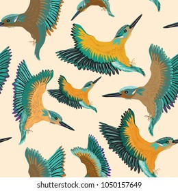 Kingfishers seamless pattern. Vector illustration of the birds on light yellow background